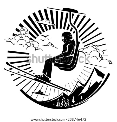 Skier sitting at ski lift in high mountains. Vector illustration in the engraving style - stock vector