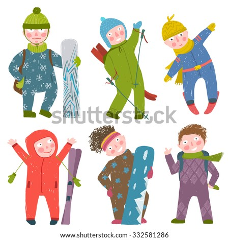 Skier Snowboarder Winter Clothes Sport Kids Collection. Snowboarding and skiing winter season fun sport vector illustration. - stock vector