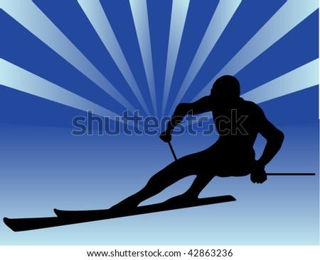skier vector silhouettes - stock vector