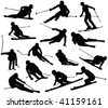 skiers silhouette collection - vector - stock vector