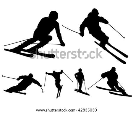 Skiers - vector - stock vector