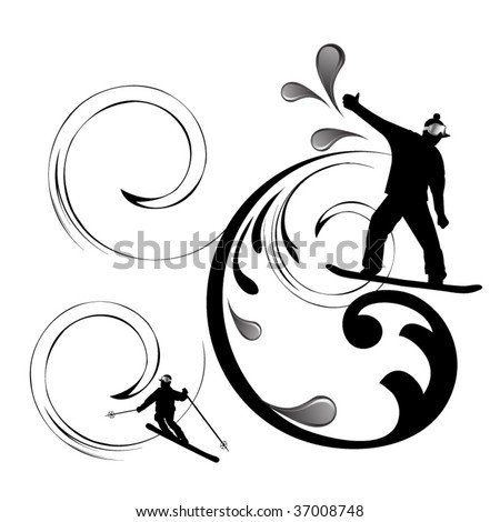 skiing and snowboarding elements - stock vector