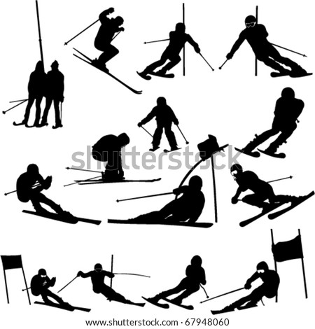 skiing collection - vector - stock vector