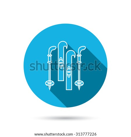 Skiing icon. Ski and sticks sign. Blue flat circle button with shadow. Vector