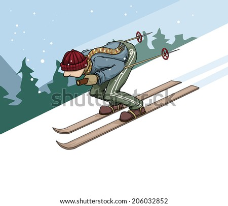 Skiing in the mountains, vector illustration