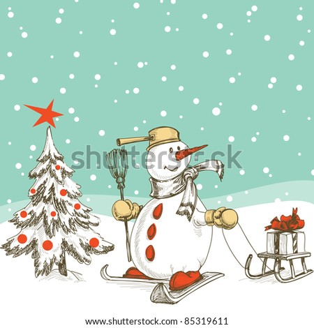 Skiing snowman with sledge, gift and Christmas tree - stock vector