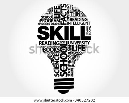 SKILL bulb word cloud, business concept - stock vector