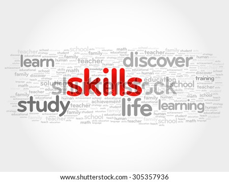 SKILLS word cloud, business concept - stock vector