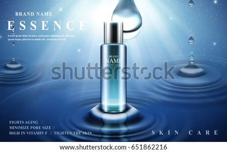 skin care essence contained in glass bottle with water ripples, blue lighted background 3d illustration