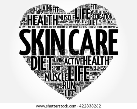 Skin care heart word cloud, fitness, sport, health concept