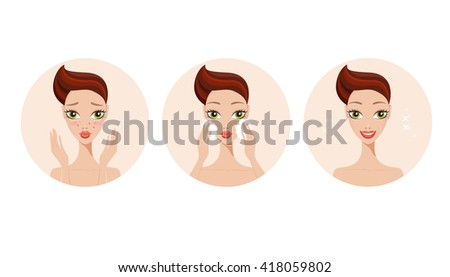 Skincare and acne treatment steps Beautiful young girl applying beauty product on face and gets her skin healthy - stock vector