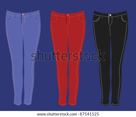 skinny jeans fashion vector element set 2 - stock vector