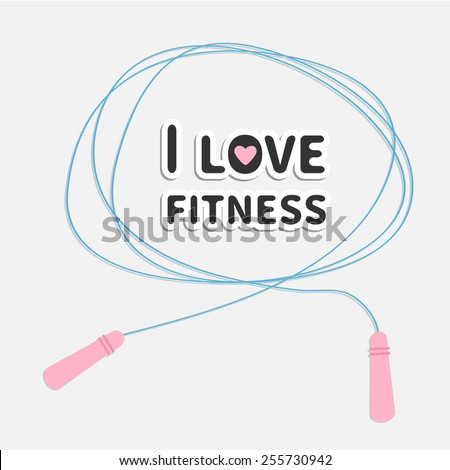Skipping jumping rope I love fitness Sport background Flat design Vector illustration - stock vector