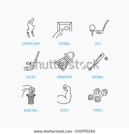 Skipping rope, football and golf icons. Hockey, baseball and badminton linear signs. Basketball, biceps and fitness sport icons. Linear set icons on white background. - stock vector