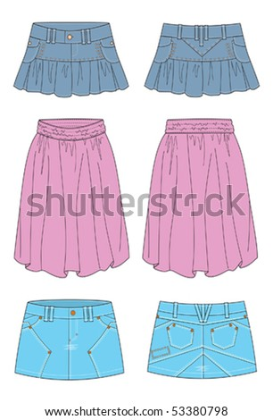 skirts for young women and girl - stock vector
