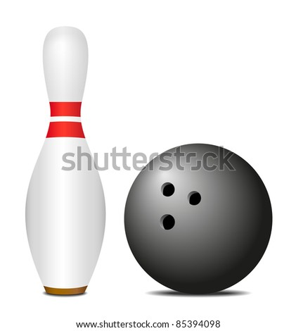 Skittle (pin) with black bowling ball - stock vector