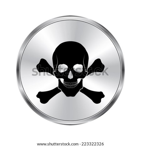 Skull and bones icon - vector brushed metal button