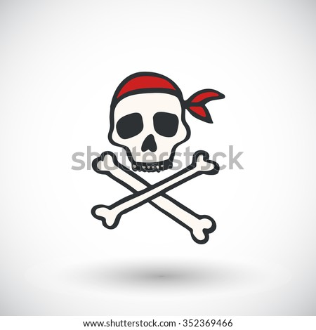 Skull and bones - Jolly roger sketch. Hand-drawn cartoon pirate icon. Doodle drawing. Vector illustration  - stock vector