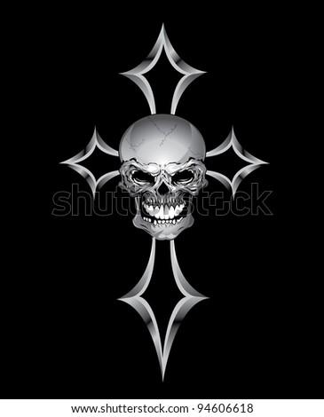 skull and cross - stock vector