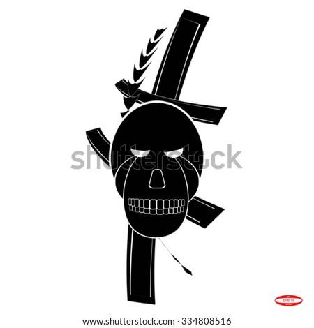 skull and cross for tattoo. vector illustration - stock vector