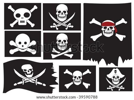 Skull and crossbones. Pirate flags. Vector illustration - stock vector