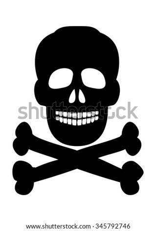 Skull and crossbones symbol on a white background. Vector