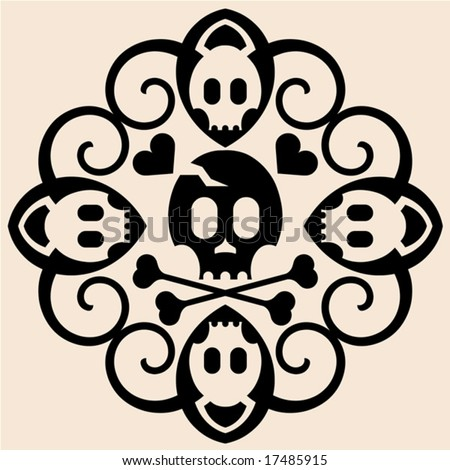 Outline pirate skull tattoo stock images royalty free for Skull and crossbones tattoo
