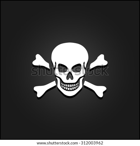 Skull and crossbones. White flat simple vector icon with shadow on a black background - stock vector