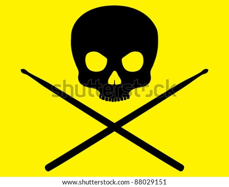 Skull and Crossbones with Drumsticks on Bright Yellow Background - stock vector