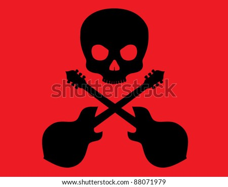 Skull and Crossbones with guitars on Red Background - stock vector