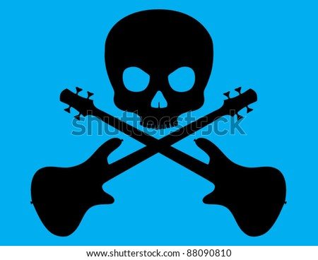 Skull and Crossed Bass Guitar on Blue Background - stock vector