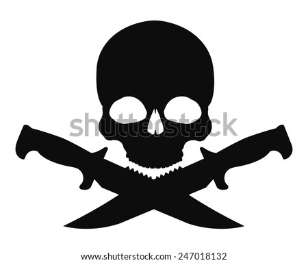 Skull and 2 crossed knifes black emblem. Vector clip art illustration isolated on white - stock vector