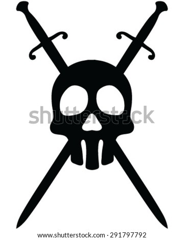 Skull and crossed swords, background, vector, isolated, silhouette