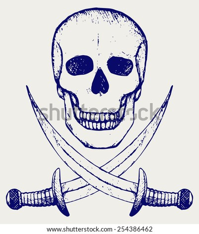 Skull and crossed swords. Doodle style - stock vector