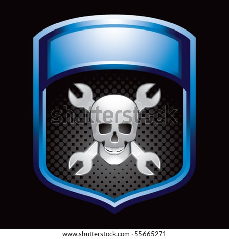 skull and crossed wrenches blue display - stock vector