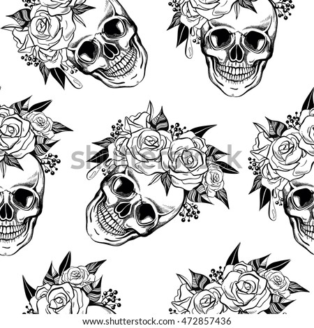 Screaming skull stock images royalty free images for Skulls and roses coloring pages
