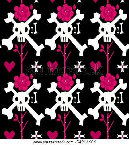 Skull and Rose EMO seamless Pattern - stock vector