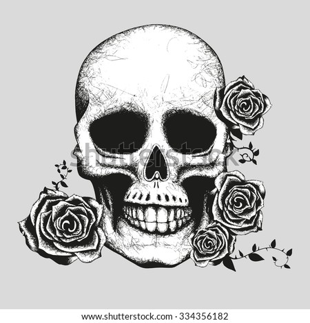 Skull and roses Hand made vector illustration