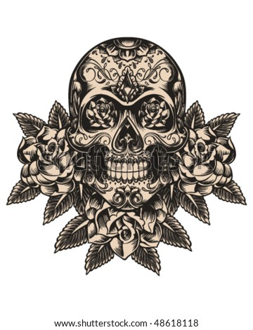 Skull and roses illustration