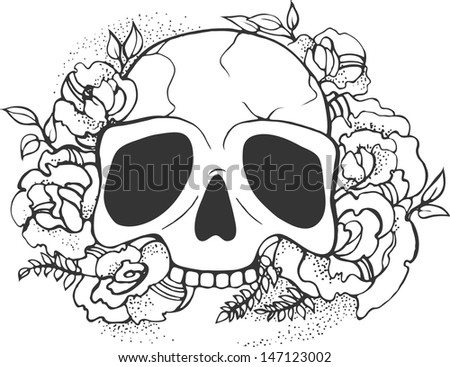 Skull and roses. Vector. - stock vector
