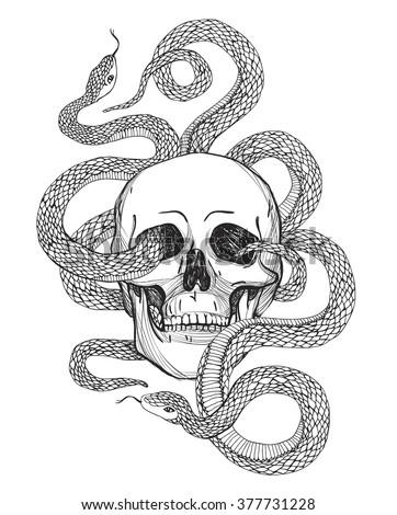 Skull snake tattoo art coloring books stock vector royalty free skull snake tattoo art coloring books stock vector royalty free 377731228 shutterstock altavistaventures Images