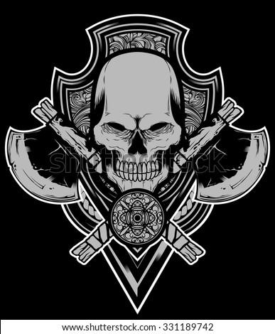 Skull axe vector - stock vector