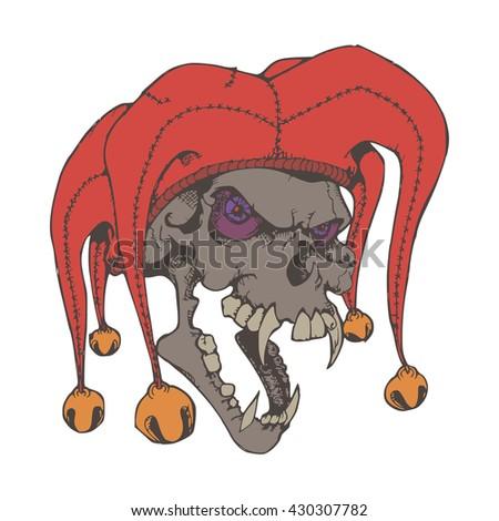 skull clown illustration object vector - stock vector