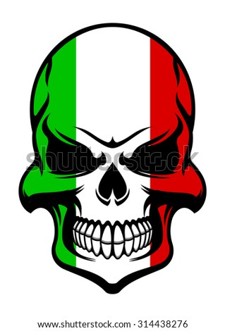 Skull colored in colors of the national flag of Italy with green, white and red stripes for halloween party decoration or t- shirt  - stock vector