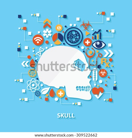 Skull concept design on blue background,clean vector - stock vector