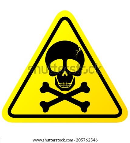 Skull danger sign vector on white background - stock vector