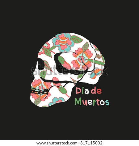 Skull. Day of the Dead. Celebration. On a black background. - stock vector