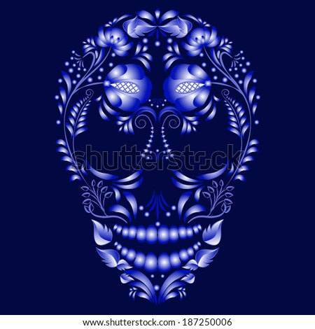 Skull decorated with blue pattern in Gzhel style. Design cards on the day of the dead. Vector illustration. - stock vector