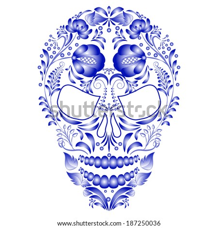 Skull decorated with blue pattern in Gzhel style on a white background. Design cards on the day of the dead. Vector illustration. - stock vector