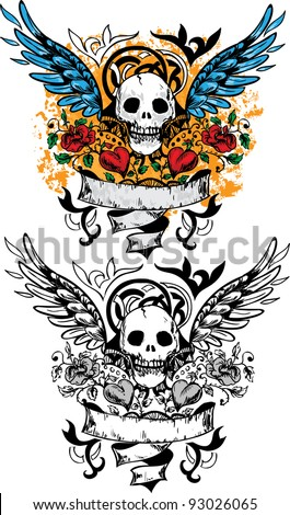 Skull design with scroll, wings, roses and hearts